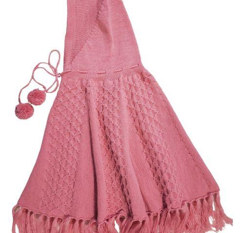Poncho Infantil Com Capuz Trico Lã Unissex  3/6 Anos Ref.028