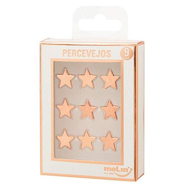 9 Percevejos de Estrela Rosê Gold - unitário - Molin
