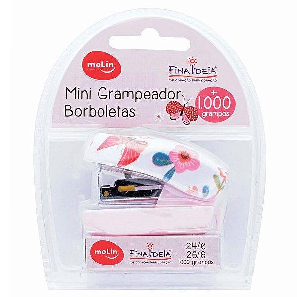 Grampeador Mini Borboleta c/ 1.000 grampos - unitário - Molin