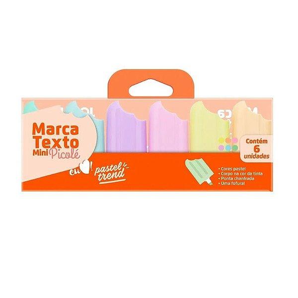 Marca Texto Mini Picolé Pastel Trend - com 6 unidades - Leonora