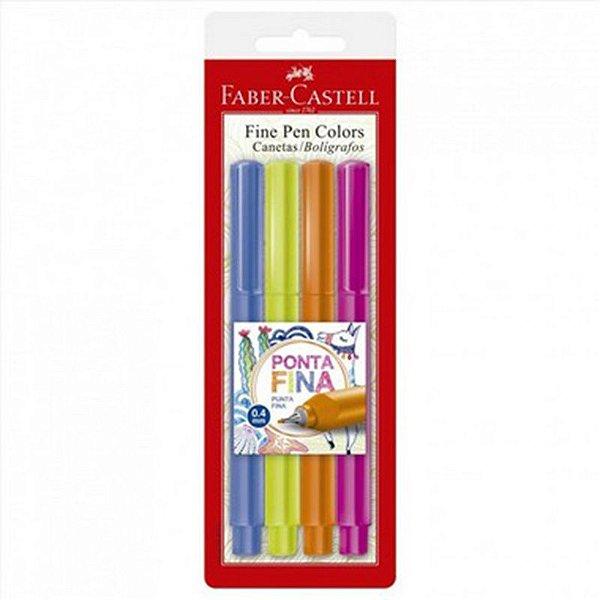 Caneta Fine Pen Colors 0,4mm - com 4 cores - Faber-Castell