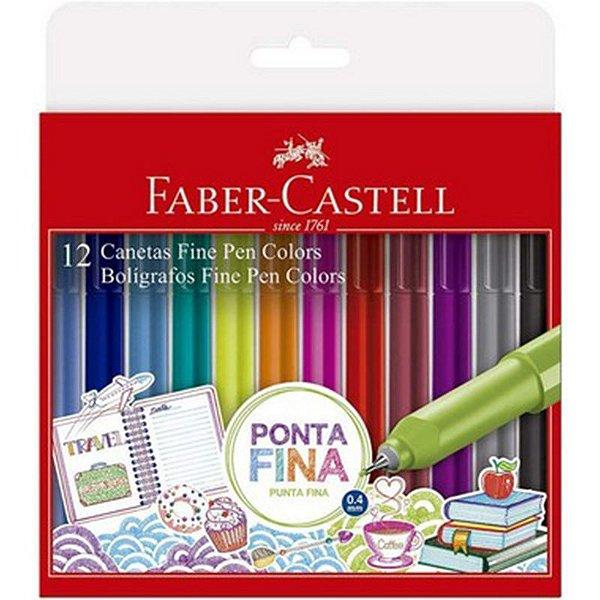 Caneta Fine Pen Colors 0,4mm - com 12 cores - Faber-Castell