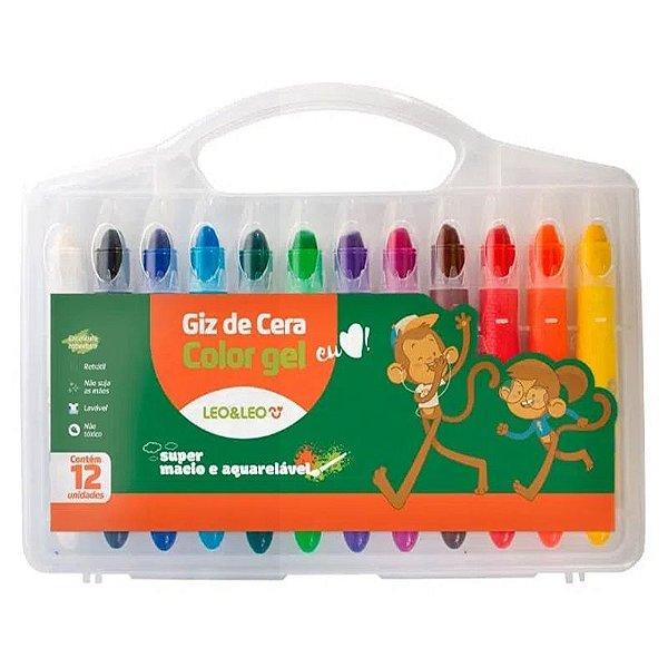 Giz de Cera Color Gel - com 12 unidades - Leonora