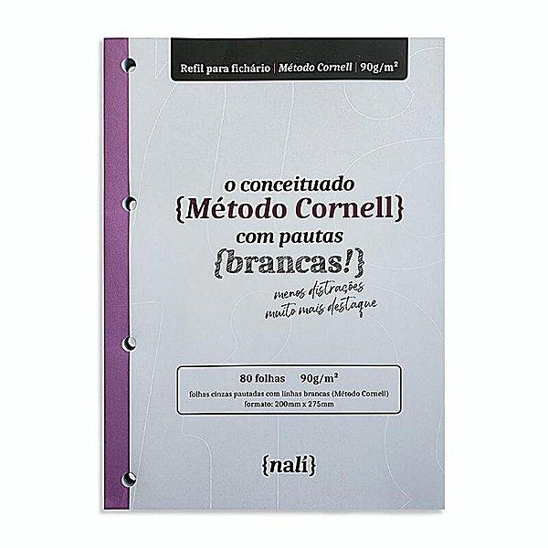 """Refil p/ Fichário c/ 80 Folhas A4 Cinzas """"Método Cornell"""" - unitário - Nalí"""