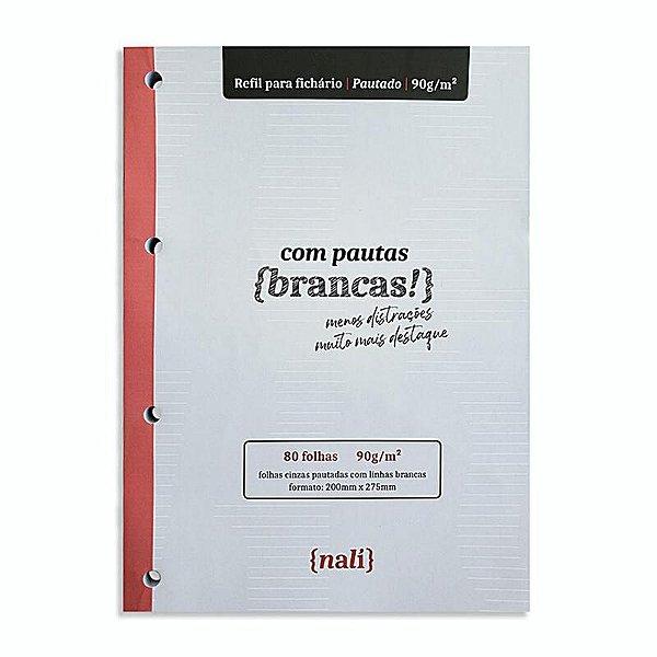 Refil p/ Fichário c/ 80 Folhas A4 Cinzas e Pautadas - unitário - Nalí