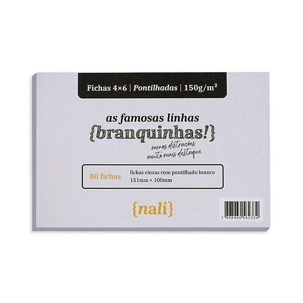Fichas Cinzas 80 Folhas 4x6 Pontilhadas - unitário - Nalí