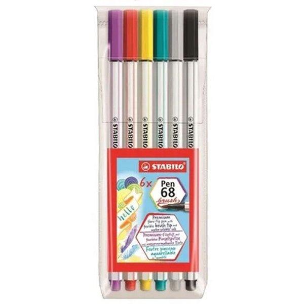 6 Canetas Stabilo Pen 68 Brush - unitário - Stabilo