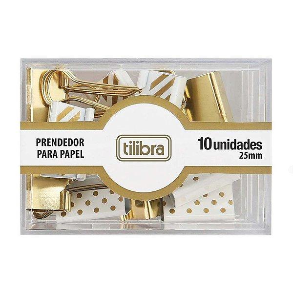 10 Prendedores de Papel 25 mm Dourado - unitário - Tilibra