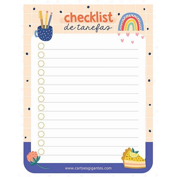 """Bloco do Dia """"Checklist"""" - unitário - Cartões Gigantes"""