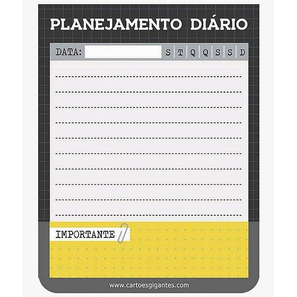 """Bloco do Dia """"Planejamento Diário"""" Cinza Chumbo - unitário - Cartões Gigantes"""