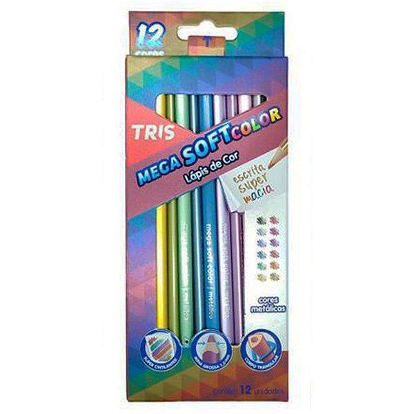 12 Lápis de Cor Mega Soft Cores Metálicas - unitário - Tris