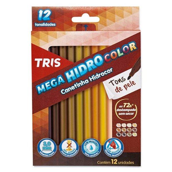 12 Canetinhas Mega Hidro Color Tons de Pele - unitário - Tris