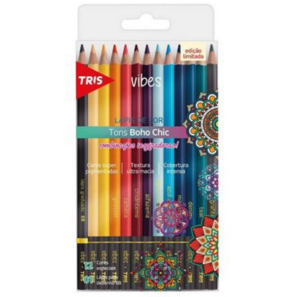 12 Lápis de Cor Vibes Tons Boho Chic + 1 Lápis Preto 6B - unitário - Tris