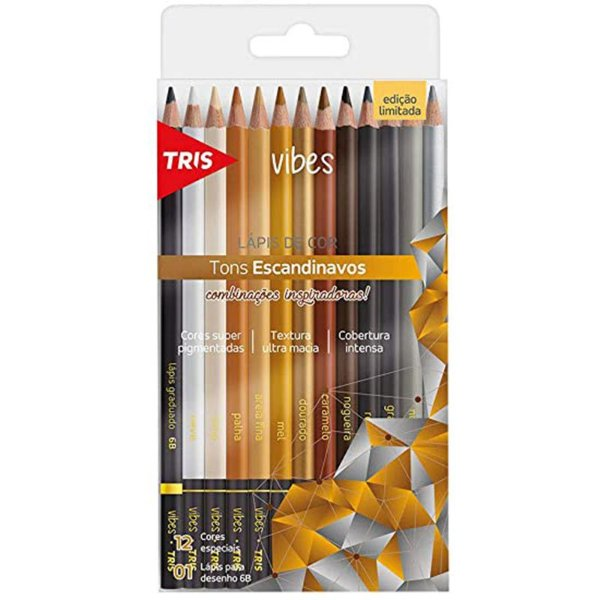 12 Lápis de Cor Vibes Tons Escandinavos + 1 Lápis Preto 6B - unitário - Tris