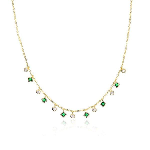Choker Brilhos Cravejado em Zircônia Esmeralda e Diamante Banhado a Ouro 18k