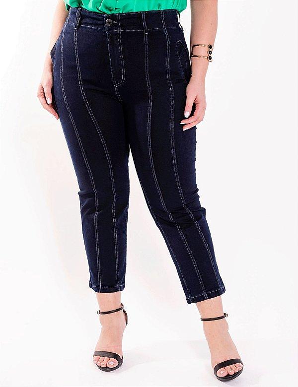 Calça Jeans Plus Size Escura Pesponto Julia Plus