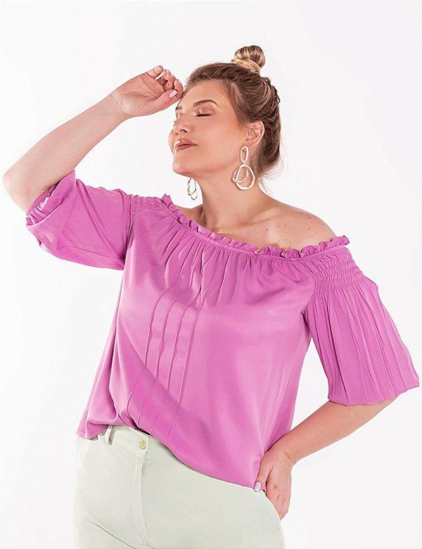 Blusa Ciganinha Plus Size Nervura Frontal Julia Plus
