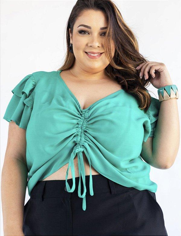 Blusa Cropped Plus Size Decote V Amplo Julia Plus
