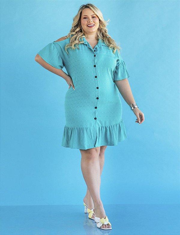 Vestido Plus Size Curto Abertura no Ombro Julia Plus