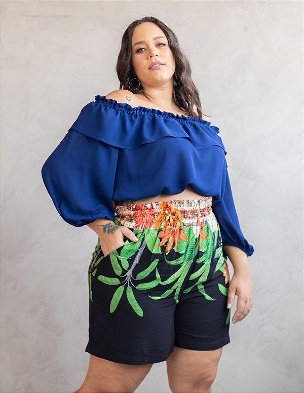 Blusa Plus Size Cropped Ciganinha Julia Plus