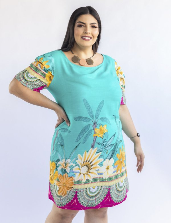 VESTIDO PLUS SIZE CURTO MANGAS PRINCESA JULIA PLUS