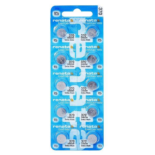 10 Pilhas Baterias 370, Relógio 1.55v Renata Sr920w Original