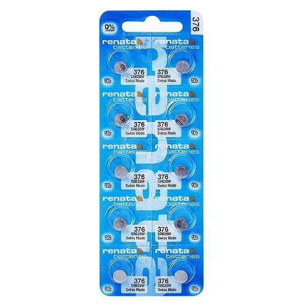 10 Pilhas Baterias 376, Relógio 1.55v Renata Sr626w Original