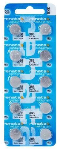 10 Pilhas Baterias 386, Relógio 1.55v Renata Sr43w Original