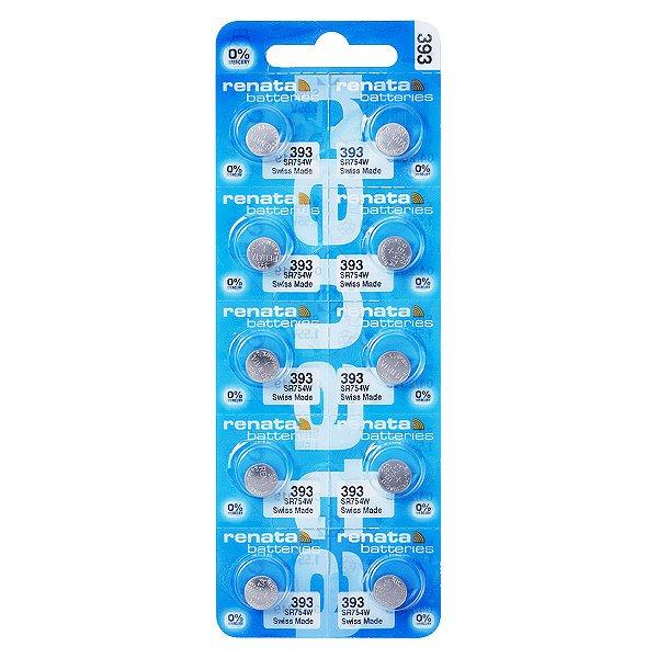10 Pilhas Baterias 393, Relógio 1.55v Renata Sr754w Original