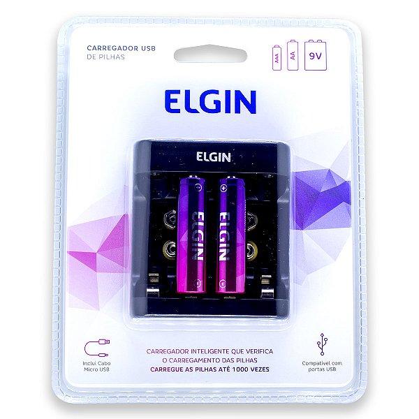 01 Carregador de Pilha USB + 02 Pilhas AA Pequena 1500mah Recarregável Elgin