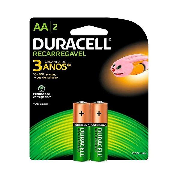 02 Pilhas AA Recarregável Pequena 1300mah Duracell 1 Cartela