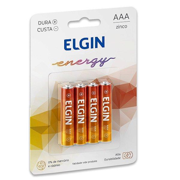 04 Pilhas AAA Palito Comum Zinco Carvão Elgin - 01 Cartela
