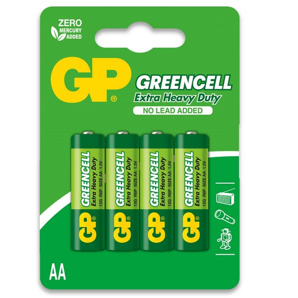 04 Pilhas AA Pequena Comum Zinco Gp GREENCELL 01 Cartela