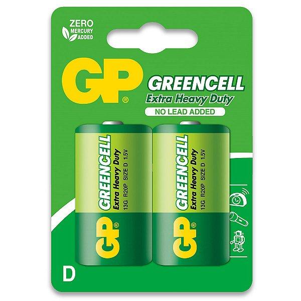 02 Pilhas D Grande Lr20 Comum Zinco Gp GREENCELL 01 Cartela