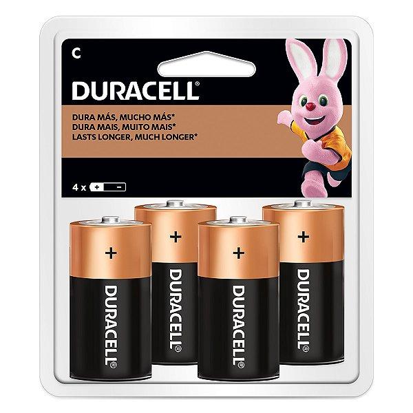 04 Pilhas C Média Lr14 Alcalina Duracell 1 Cartela
