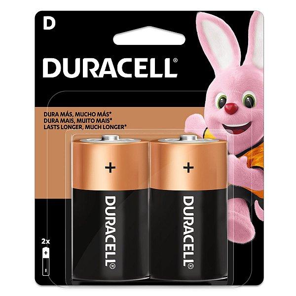 02 Pilhas D Grande Lr20 Alcalina Duracell 1 Cartela