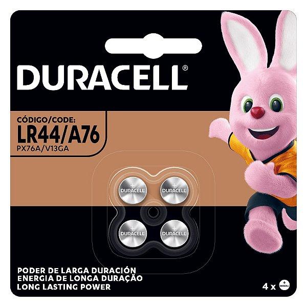 04 Pilhas Baterias LR44 A76 Ag13 Alcalina DURACELL 1 cartela