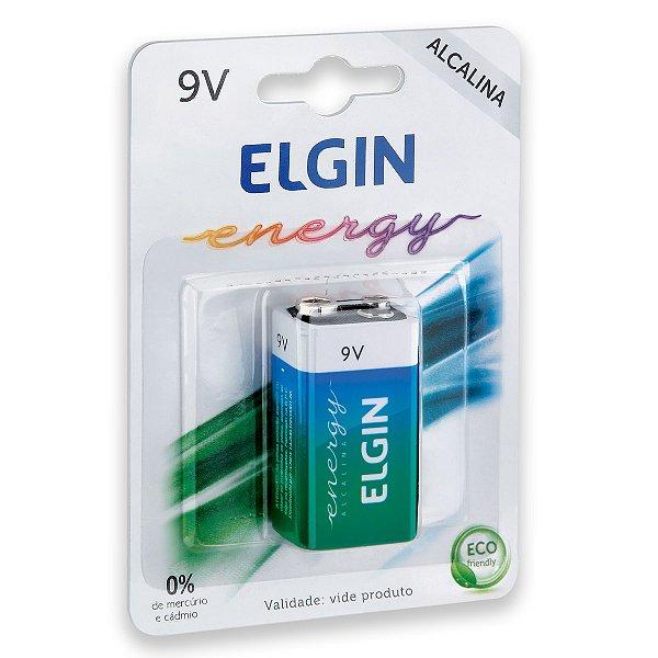 01 Pilha Bateria 9v Alcalina Elgin 1 Cartela