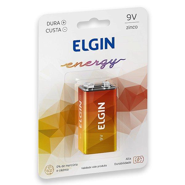 01 Pilha Bateria 9v Zinco Carvão Elgin 1 Cartela