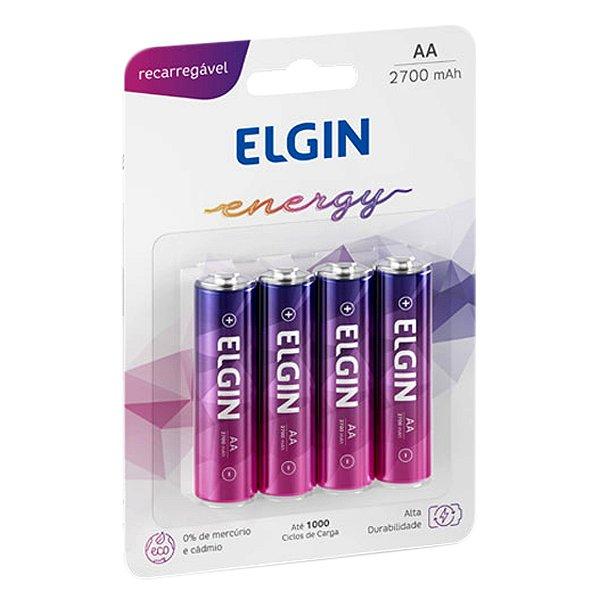 04 Pilhas AA Recarregável Pequena Elgin 2700mah 1 Cartela