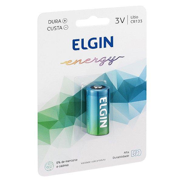 01 Pilha Bateria Cr123a 3v Elgin 1 Cartela