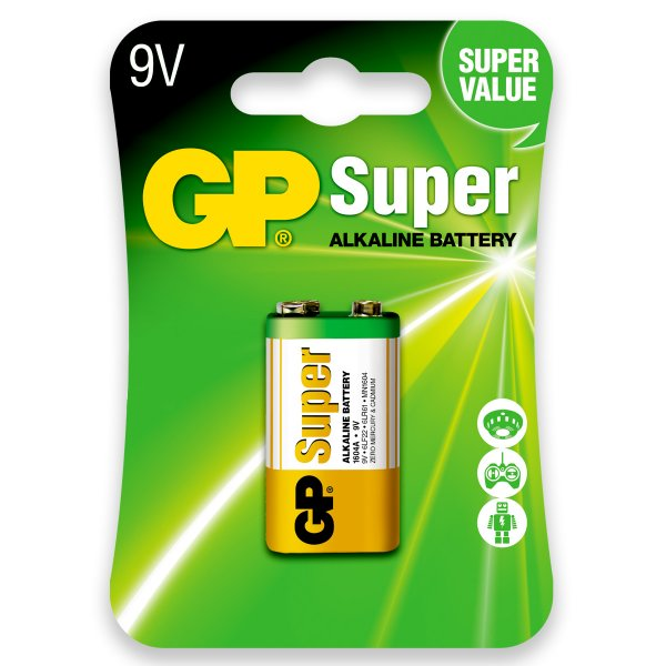 01 Pilha Bateria 9v Alcalina Gp Super 01 Cartela C/ 1 Unid.