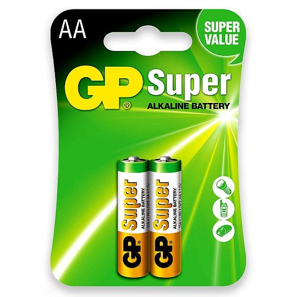 02 Pilhas AA Pequena Alcalina Gp Super 1 Cartela