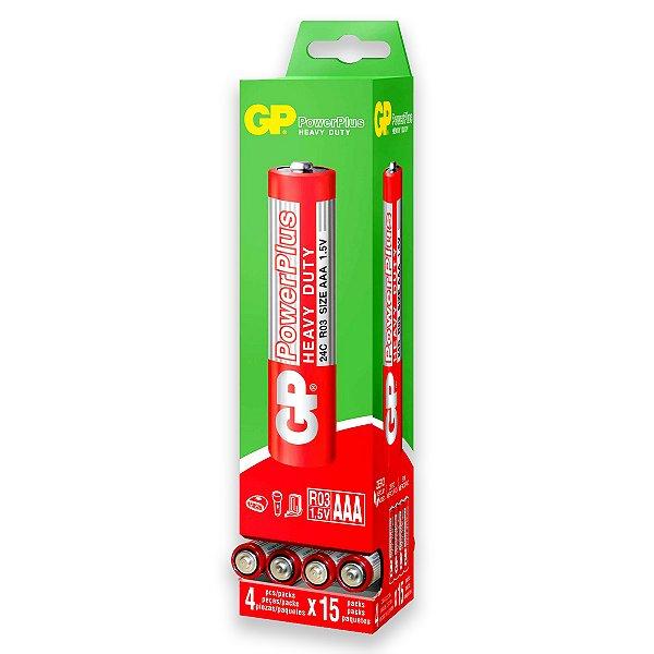 60 Pilhas AAA Palito Comum Powerplus Gp Zinco 01 Caixa Com 60 Un