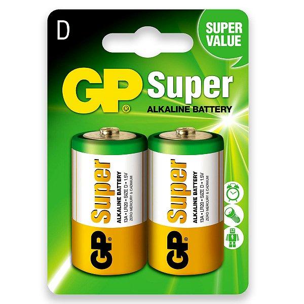 02 Pilhas D Grande Lr20 Alcalina Gp Super 01 Cartela C/ 2 Unid