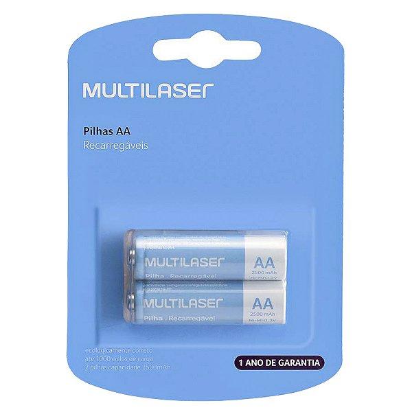02 Pilhas AA Recarregável Pequena 2500mah Multilaser 1 Cartela