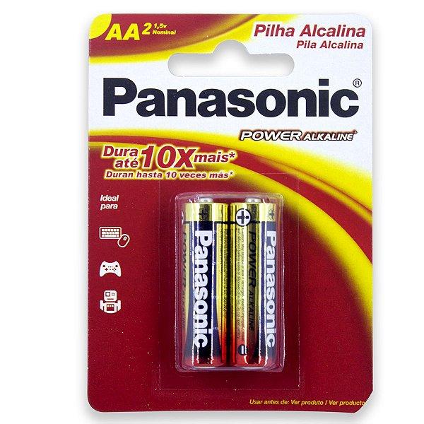 02 Pilhas AA Pequena Alcalina Panasonic 1 Cartela