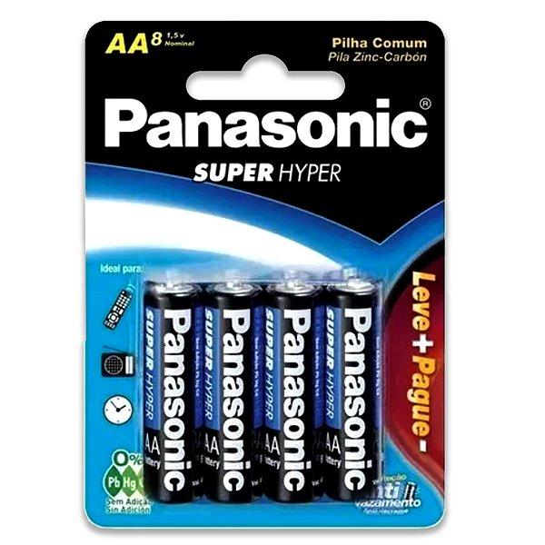 08 Pilhas AA Pequena Comum Zinco Carvão Panasonic 1 Cartela