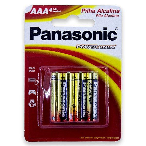 04 Pilhas AAA Palito Alcalina Panasonic 1 Cartela