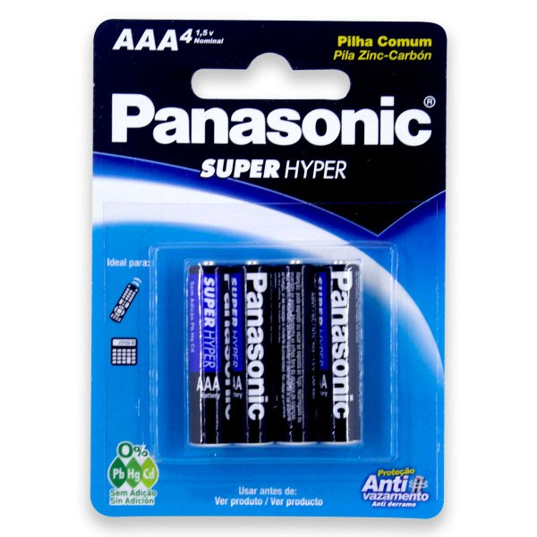 04 Pilhas AAA Palito Comum Zinco Carvão Panasonic 1 Cartela